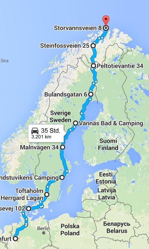 Finaler Plan unserer Tour für den Hinweg zum Nordkap